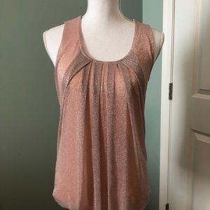 Women's NEW YORK & COMPANY tank pink silver Small